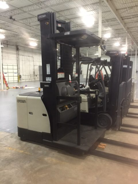 Row of used Crown fork lifts for sale